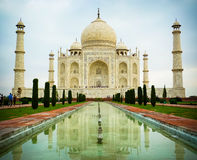 Taj Mahal low angle front view Stock Photos