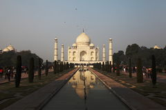 Taj Mahal. Is made of white stone i.e marble. It was built Mughal Emperor Shah Jahan in 1653 in memory of his beloved late wife Mum. This is symbol of Love and Stock Photo
