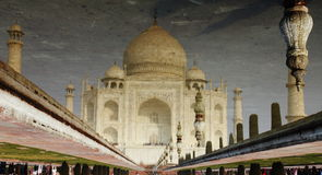 Taj Mahal. Is made of white stone i.e marble. It was built Mughal Emperor Shah Jahan in 1653 in memory of his beloved late wife Mum. This is symbol of Love and Royalty Free Stock Photo