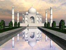 Taj Mahal-mausoleum, Agra, 3D India - geef terug stock illustratie