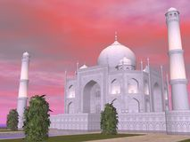 Taj Mahal mausoleum, Agra, India - 3D render. Close up of famous Taj Mahal mausoleum by sunset, Agra, India Stock Photos