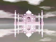 Taj Mahal mausoleum, Agra, India - 3D render. Famous Taj Mahal mausoleum and its mirror reflection by day, Agra, India Royalty Free Stock Photos