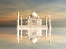 Taj Mahal mausoleum, Agra, India - 3D render. Famous Taj Mahal mausoleum and its mirror reflection by sunset, Agra, India Royalty Free Stock Photography