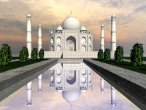Taj Mahal mausoleum, Agra, India - 3D render. Famous Taj Mahal mausoleum and nature around by sunset, Agra, India Stock Photos