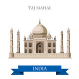Taj Mahal mausoleum in Agra, India vector flat attraction. Taj Mahal mausoleum in Agra, India. Flat cartoon style historic sight showplace attraction web site Stock Photo