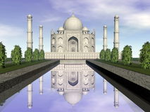 Taj Mahal mausoleum, Agra, Indien - 3D framför vektor illustrationer