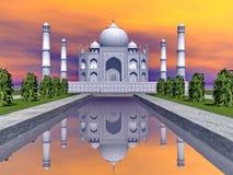 Taj Mahal mausoleum, Agra, Indien - 3D framför Royaltyfri Foto