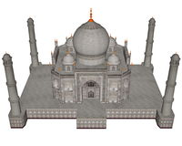 Taj Mahal mausoleum - 3D render Royalty Free Stock Photo