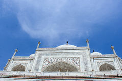 The Taj Mahal. Meaning Crown of the Palace is an ivory-white marble mausoleum on the south bank of the Yamuna river in the Indian city of Agra. It was Stock Images