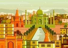 Taj Mahal med olik byggnad i Indien stock illustrationer