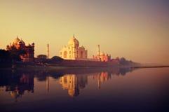 Taj Mahal Memorial Travel Destination 7 is Concept benieuwd Stock Fotografie