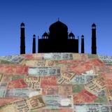 Taj Mahal met Indische Roepies stock afbeeldingen