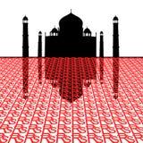 Taj Mahal mit Rupien lizenzfreie abbildung