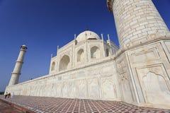 Taj Mahal Monument. Taj Mahal seen from the corner minaret against a clear blue sky stock image