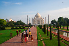Taj Mahal morning visitors royalty free stock photo