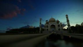 Taj Mahal, nascer do sol bonito do timelapse, trilha da zorra video estoque