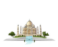 Taj Mahal op een open boekhand getrokken illustratie bij witte achtergrond stock illustratie