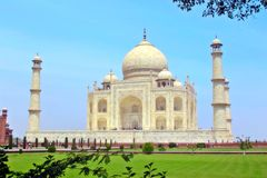 Taj Mahal-oriëntatiepunt in India Stock Foto