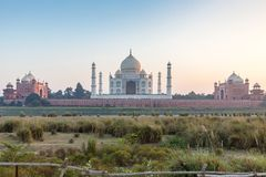 Taj Mahal and outlying buildings as seen from across the Yamuna