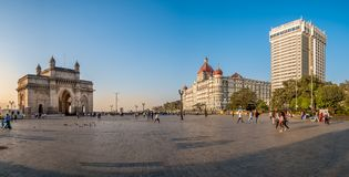 The Taj Mahal Palace Hotel and Gateway of India. Mumbai, India - February 11, 2018 - Every year thousands of tourist visit the most famous attractions of Mumbai Royalty Free Stock Photography