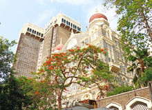 Taj mahal palace hotel on the sea front india Stock Image
