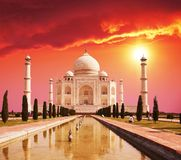 Taj Mahal palace in India. On sunrise royalty free stock photography