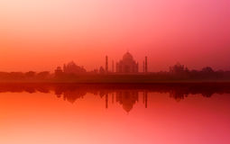 Taj Mahal Palace in India. De Indische zonsondergang van Tempeltajmahal Royalty-vrije Stock Fotografie