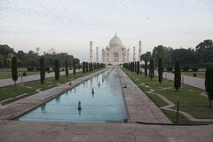 Taj Mahal with pool. Agra, India. Vista del Taj Mahal con piscina e linea de arboles royalty free stock image