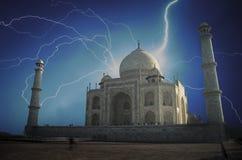 Taj Mahal. Powerful lightning strike. Stock Photo