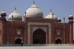 Taj Mahal. Red sandstone temple at the Taj Mahal Stock Image