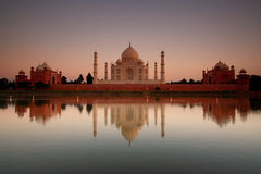 Taj Mahal reflected in river Stock Photos
