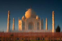 Taj Mahal reflected in river stock image