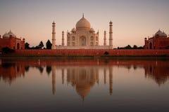 Taj Mahal reflected in river stock photo