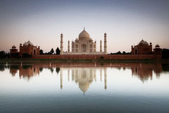 Taj Mahal reflected in river a Stock Photos