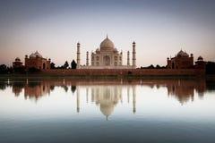 Taj Mahal reflected in river a Stock Photos