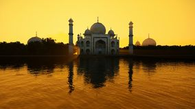 Taj Mahal reflected in water against beautiful sun, 4K. Hd video royalty free illustration