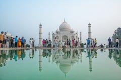 Taj Mahal reflekterande pöl Arkivbilder