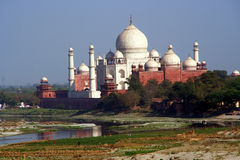 Taj Mahal With River and Reflection Agra India Stock Photography