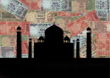 Taj Mahal with Rupees Stock Image
