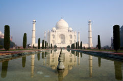 Taj Mahal and it's fountains. Agra, India - 24th November 2013; View fo the Taj Mahal and it's fountains. Taj Mahal is India's most famous monument and is one of Royalty Free Stock Photography