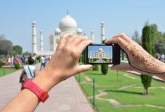 Taj Mahal on the screen of a camera Stock Photos