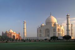 Taj Mahal shrine with mosque in Agra, India. Famous Taj Mahal in Agra, north India, shrine of princess Mumtaz Mahal, in the morning at the sunrise Stock Images