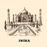 Taj Mahal skissar vektor illustrationer