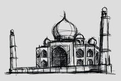 Taj Mahal skissar teckningsillustrationen, monumentet och turismbyggnad i Indien, moské i islam royaltyfri illustrationer