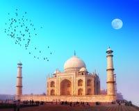 Taj Mahal slott i Indien Arkivbild