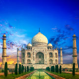 Taj Mahal Indien solnedgång Arkivfoton