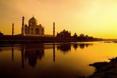 Taj Mahal am Sonnenuntergang. Stockfotografie
