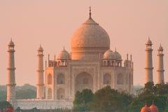 Taj Mahal Sonnenuntergangglühen Stockfoto