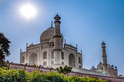 Taj Mahal in sun light. Early in the morning, back view behind the fence, from outside, river side. One of the most. Taj Mahal in sun light. Early in the morning Royalty Free Stock Image