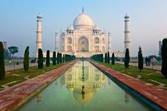 Taj Mahal at sunrise, Agra, Uttar Pradesh, India. Panoramic view of Taj Mahal at sunrise, Agra, Uttar Pradesh, India Royalty Free Stock Photography